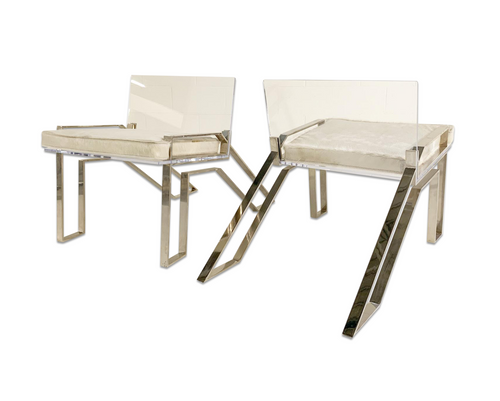 Lucite Adirondack Chairs with Brazilian Cowhide Cushions, pair - FORSYTH
