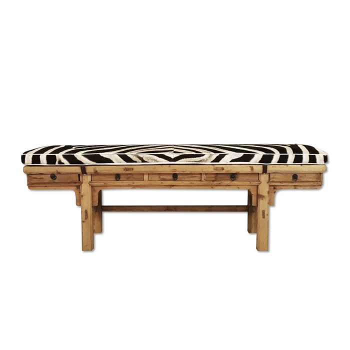 CALLIGRAPHER FIVE-DRAWER BENCH WITH custom Zebra Cushion