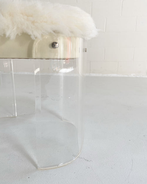 Charles Hollis Jones Style Lucite Vanity Stool in New Zealand Sheepskin