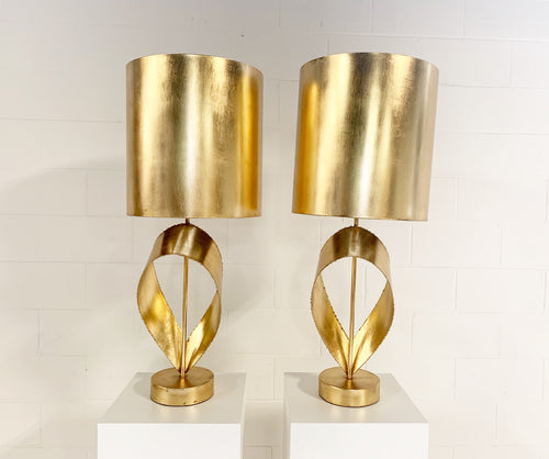 Pair of Brutalist Gold Ribbon Table Lamps - FORSYTH