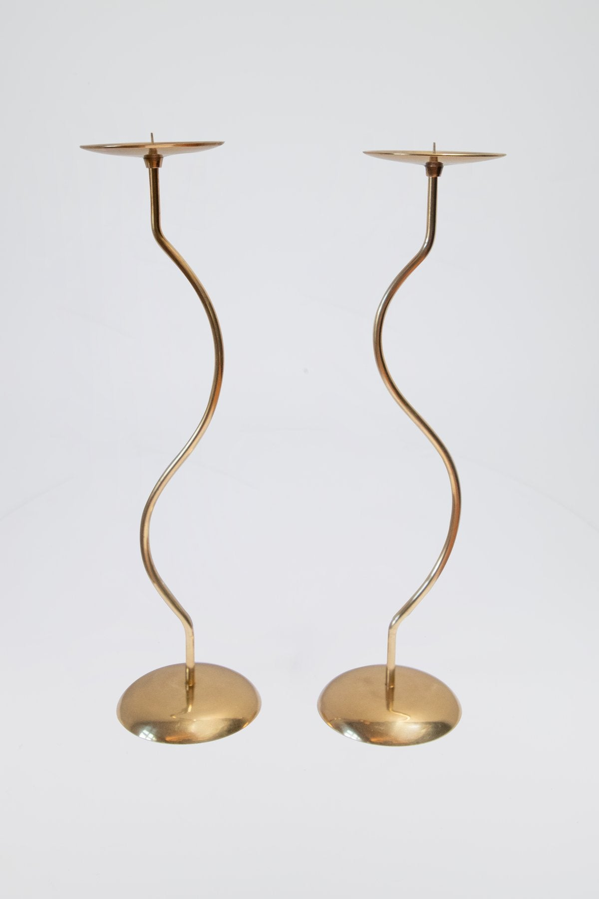 Dancing Duo Brass Candlesticks, Pair