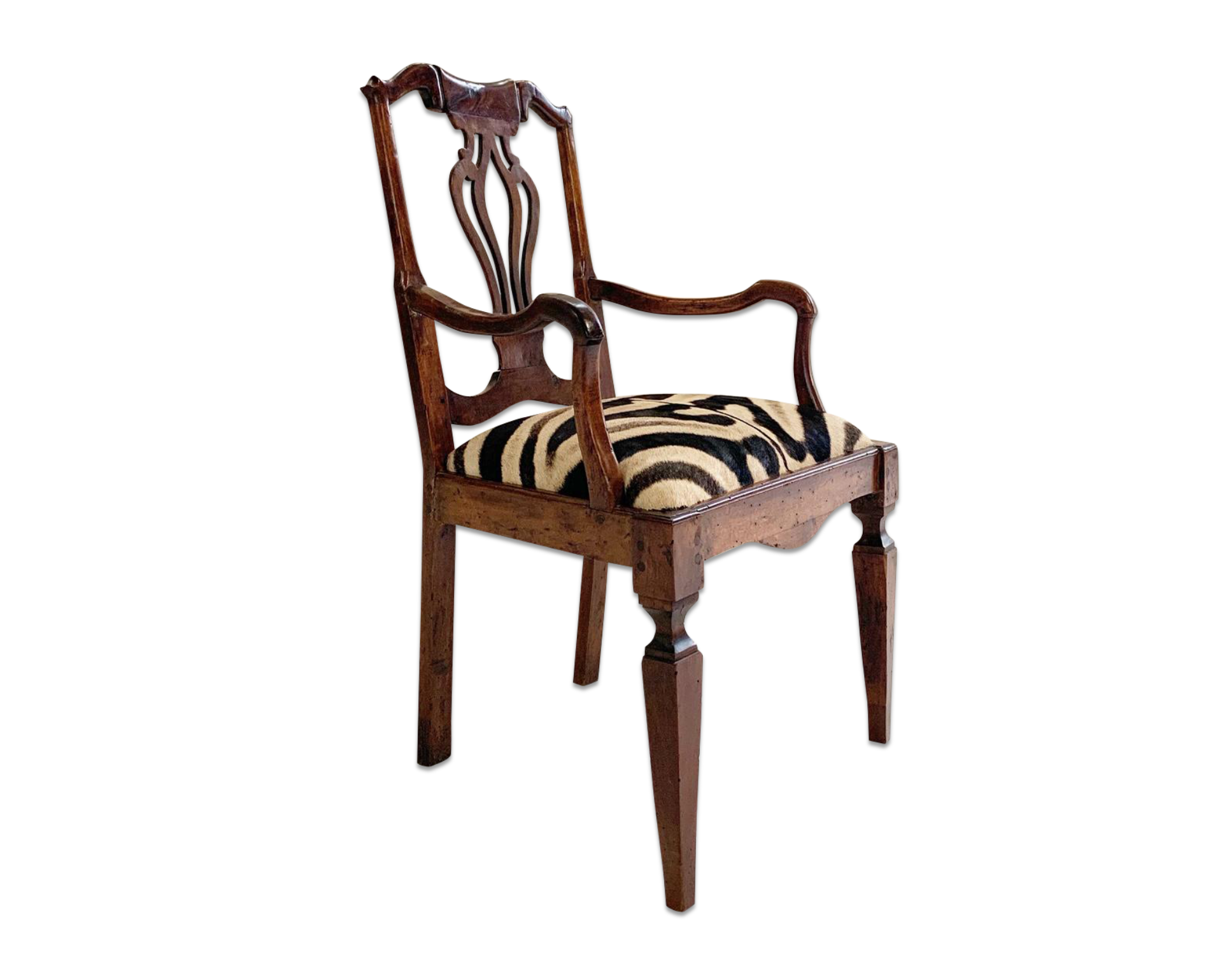 Antique Dutch Armchair in Zebra Hide