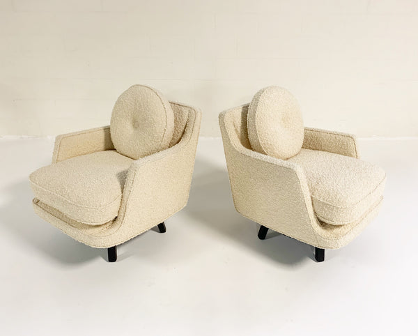 Model 5609 Swivel Lounge Chairs in Schumacher Boucle, Pair - FORSYTH