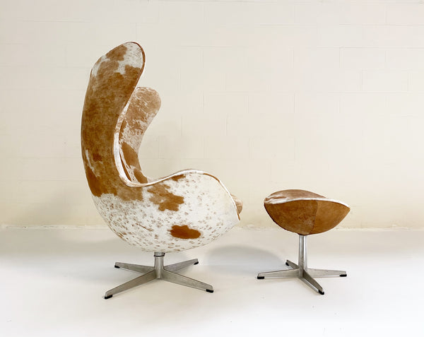 Egg Chair and Ottoman in Brazilian Cowhide - FORSYTH