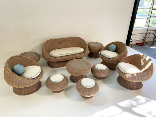 10 Piece Rattan Set with Custom Brazilian Cowhide and Leather Cushions