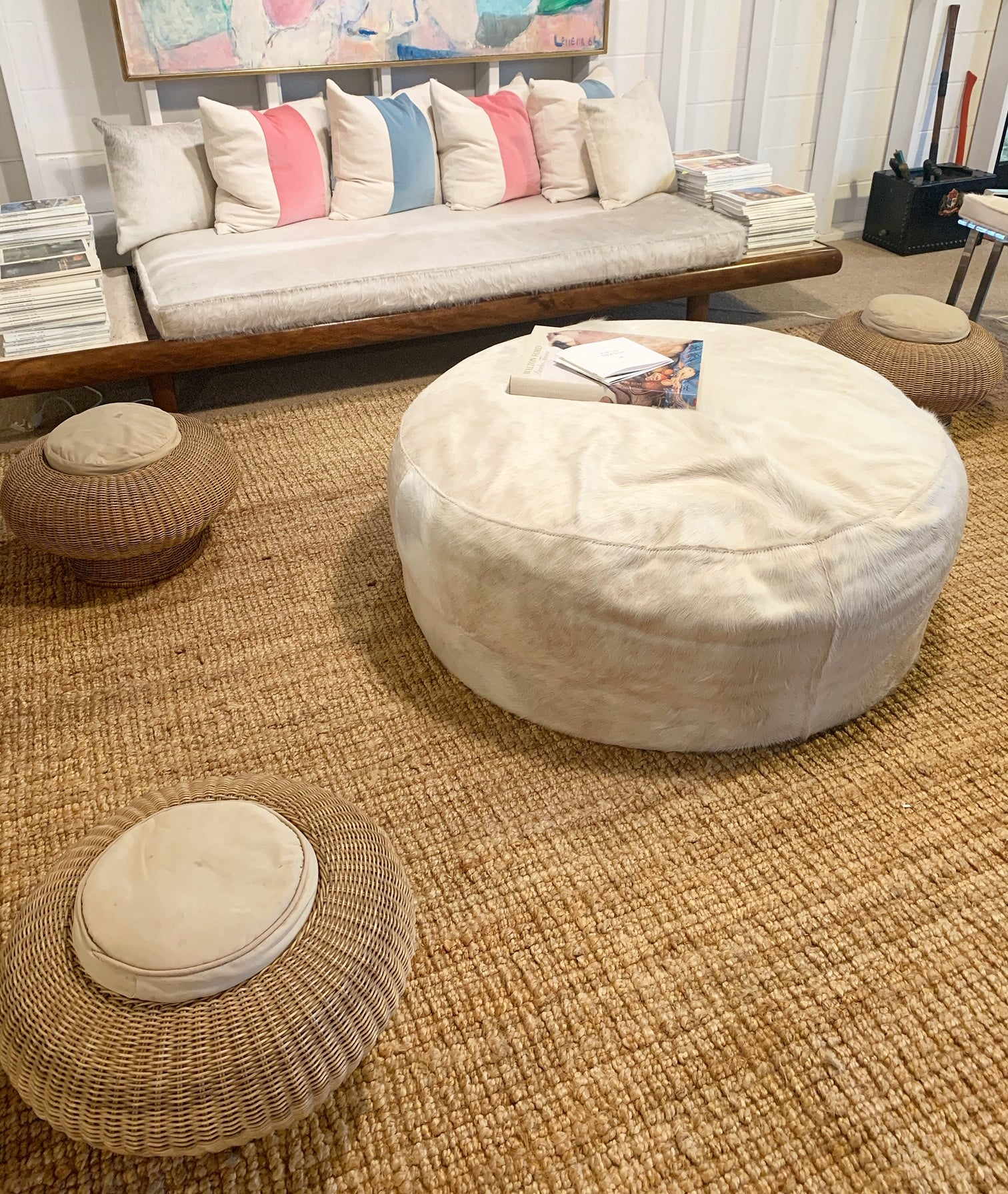 Large Round Ottoman in Brazilian Cowhide