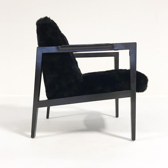 Vintage Edward Wormley for Dunbar Model 406 Lounge Chair Reupholstered in Brazilian Sheepskin