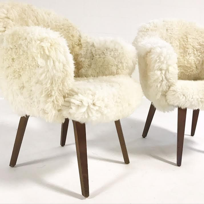 Pair Of Vintage Eero Saarinen Executive Armchairs For Knoll With Walnut  Legs Reupholstered In Brazilian Sheepskin