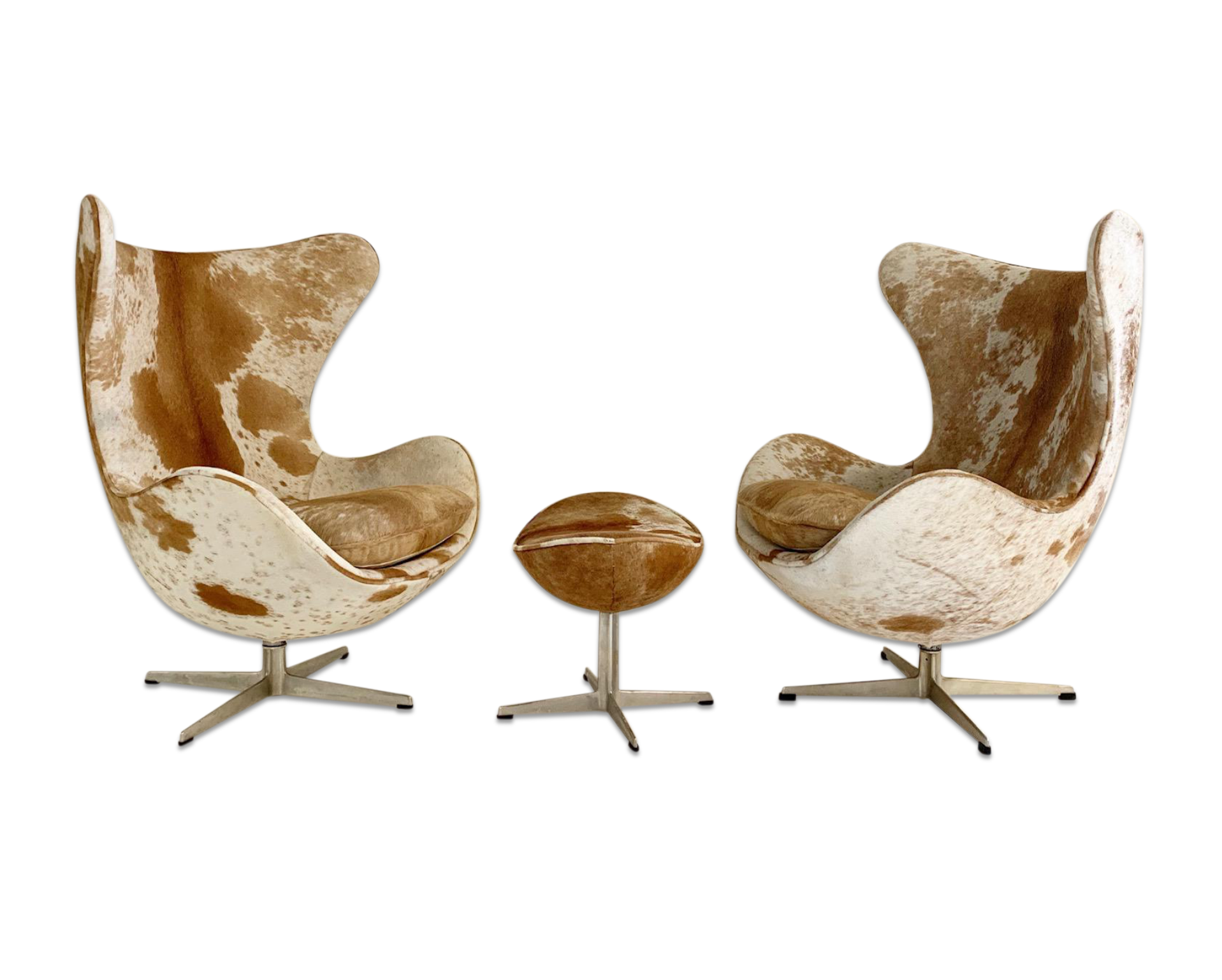 Egg Chairs in Brazilian Cowhide, pair
