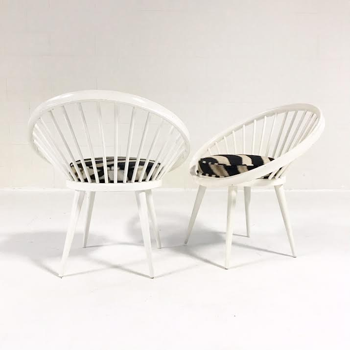 Vintage Pair of Yngve Ekstrom Circle Chairs Reupholstered in Zebra Hide