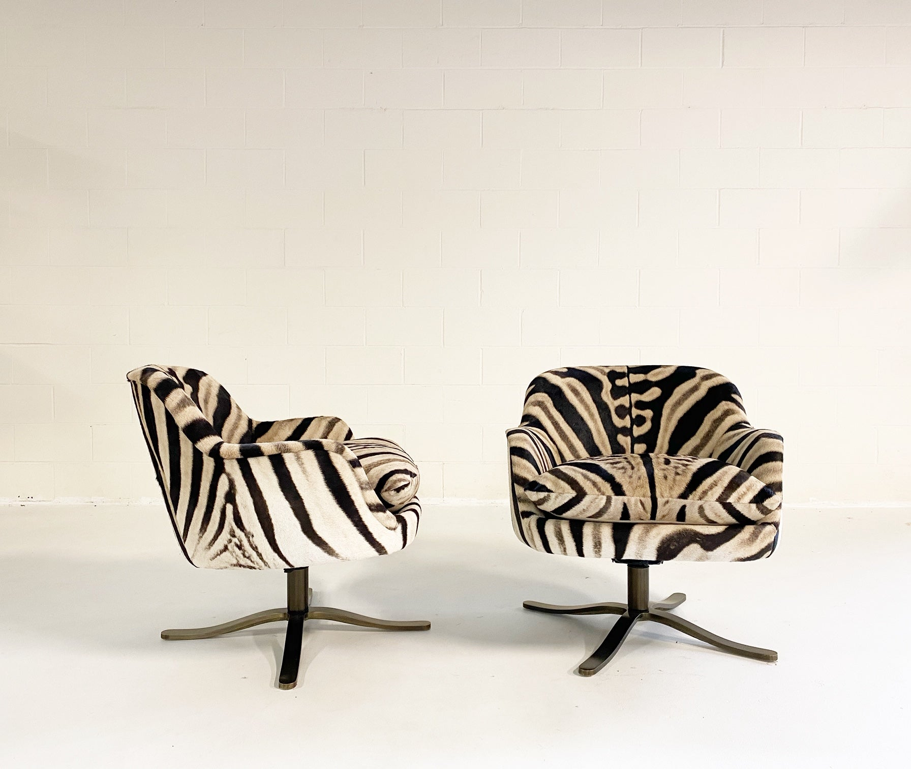 Swivel Chairs in Zebra Hide