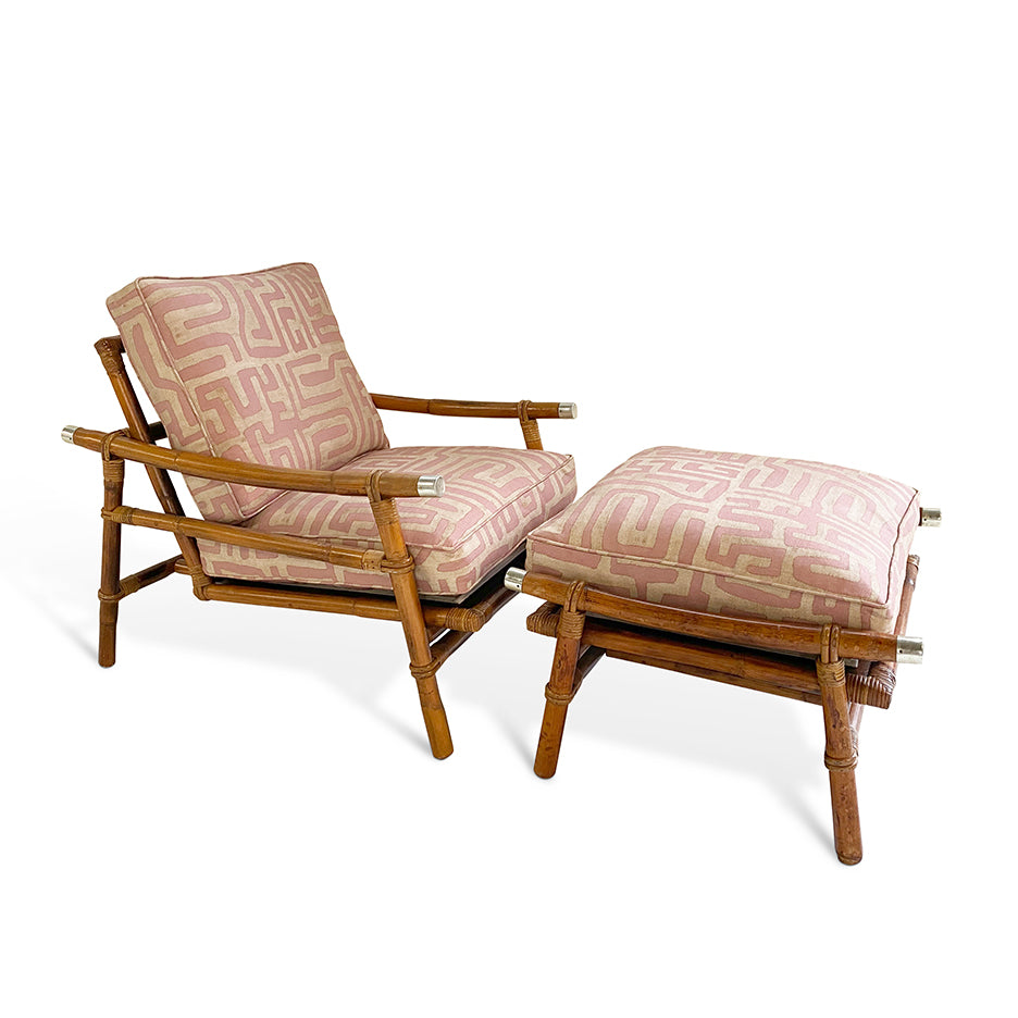 Vintage Ficks Reed Chair and Ottoman in St. Frank Terracotta Classic Kuba Cloth Fabric