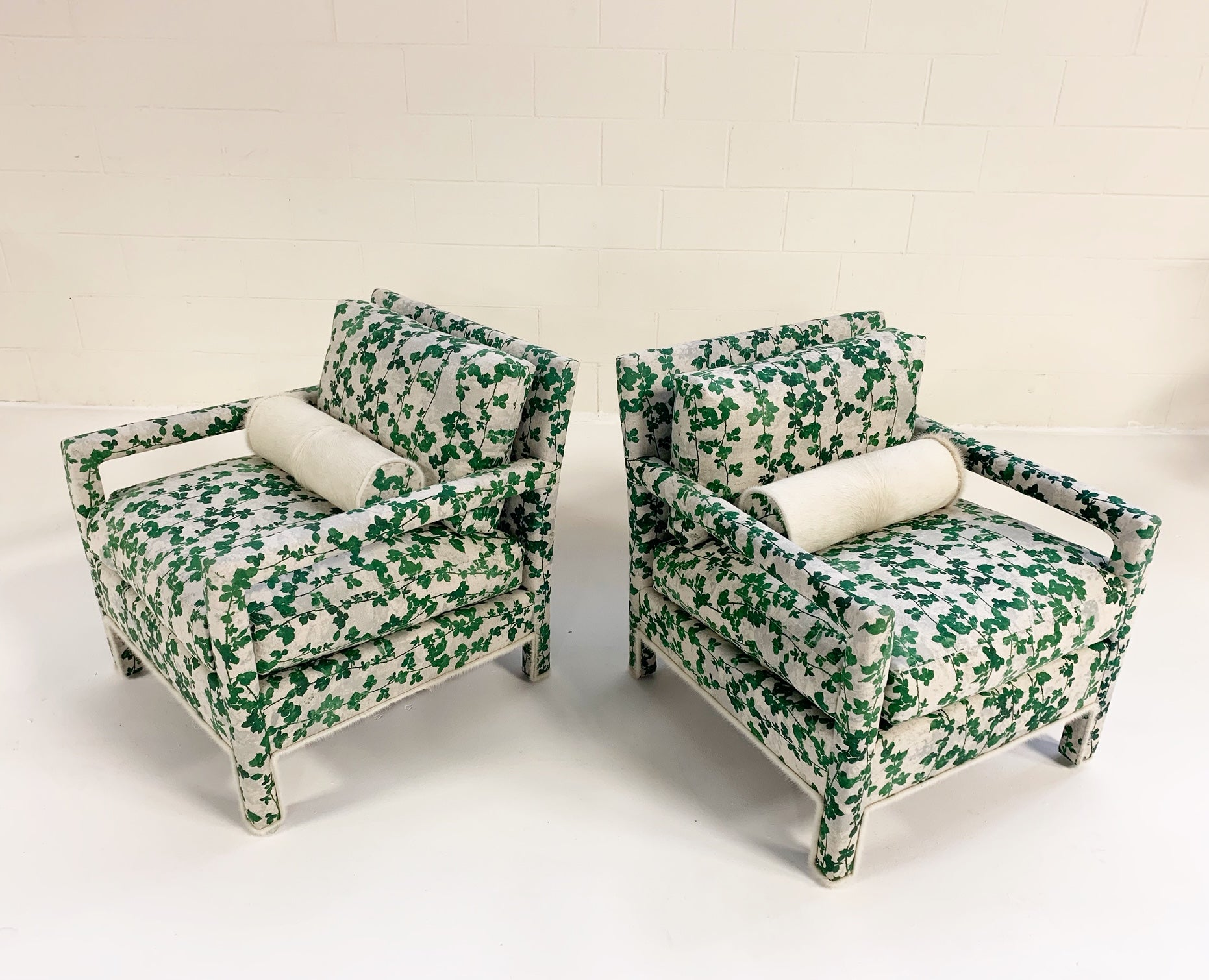 "Milo Baughman Style Parsons Chairs in ""Brambles"" - FORSYTH"