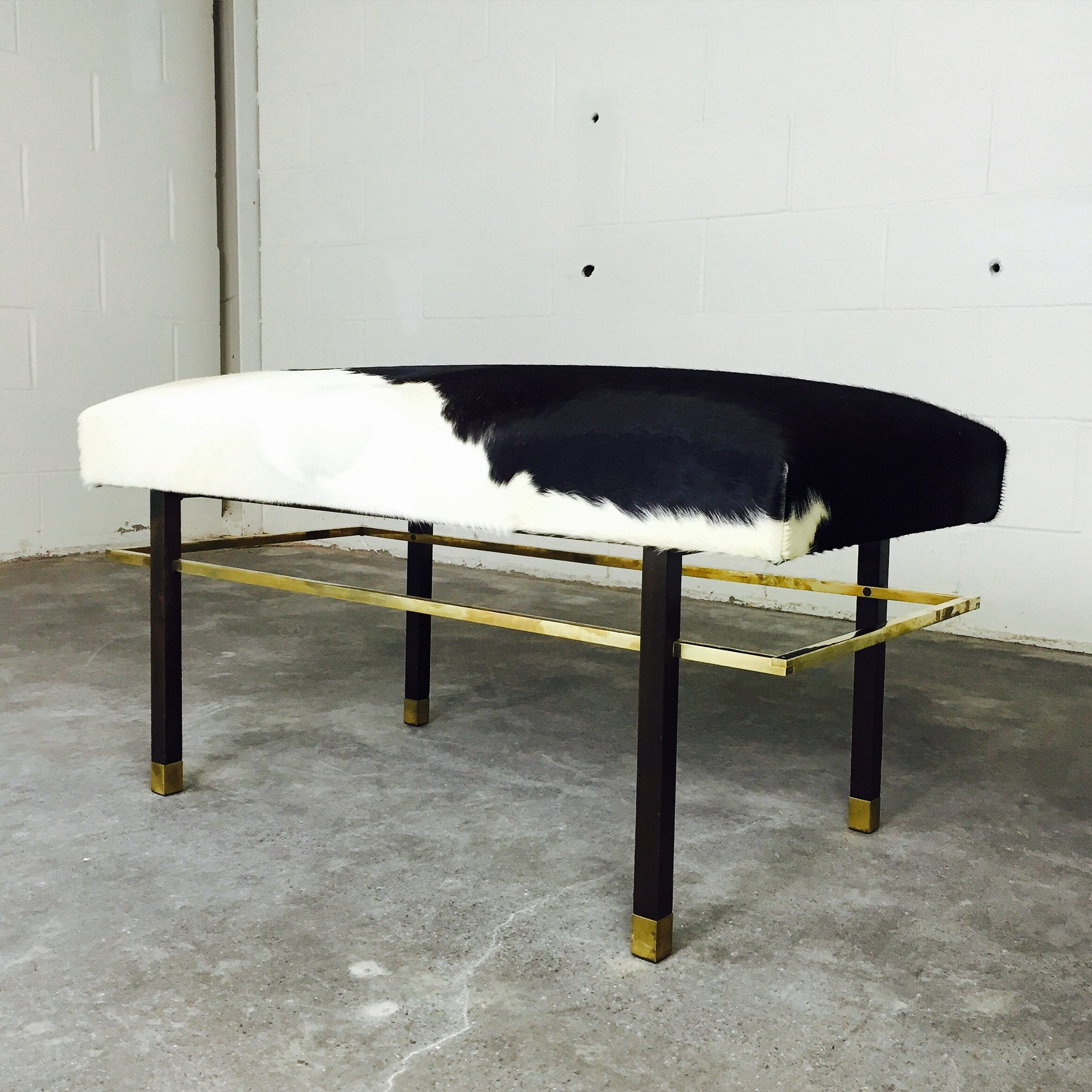 Mahogany and Brass Bench in Brazilian Cowhide - FORSYTH