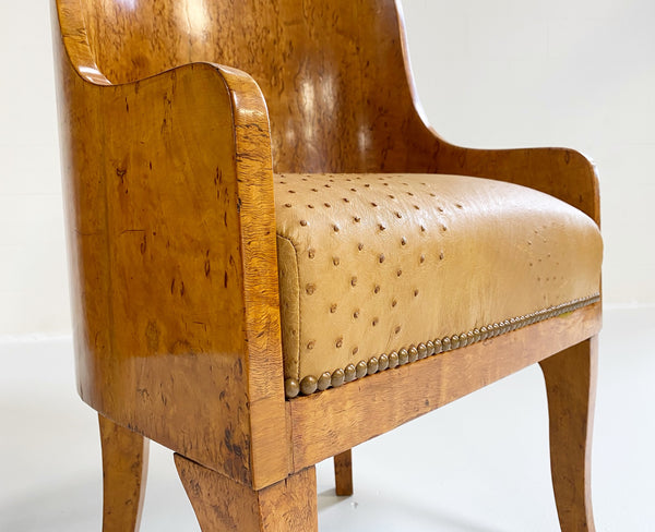 Biedermeier Gnarled Birch Armchairs in Ostrich Leather, pair