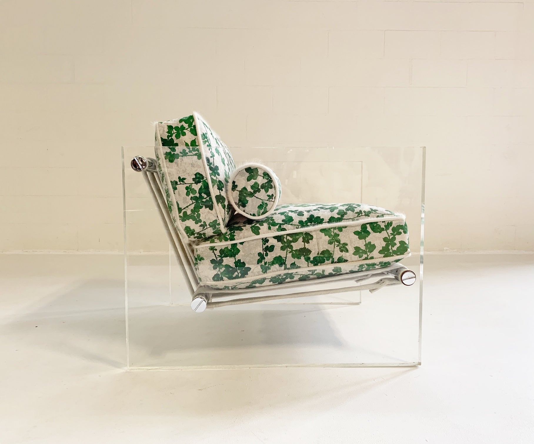 "Lucite Slab Lounge Chair in ""Brambles"" - FORSYTH"