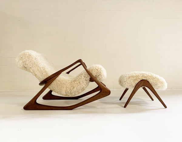 Rocking Chair and Ottoman in California Sheepskin - FORSYTH
