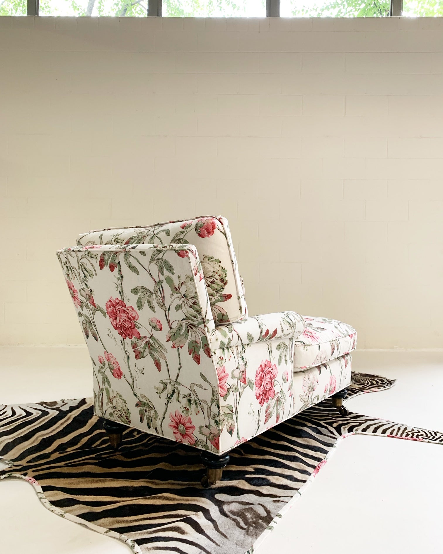 Chaise Lounge in Schumacher Fabric with Zebra Rug - FORSYTH