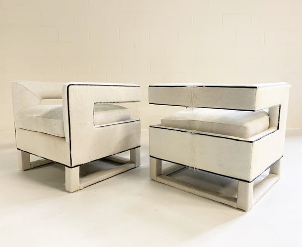 Cube Chairs in Brazilian Cowhide, pair - FORSYTH