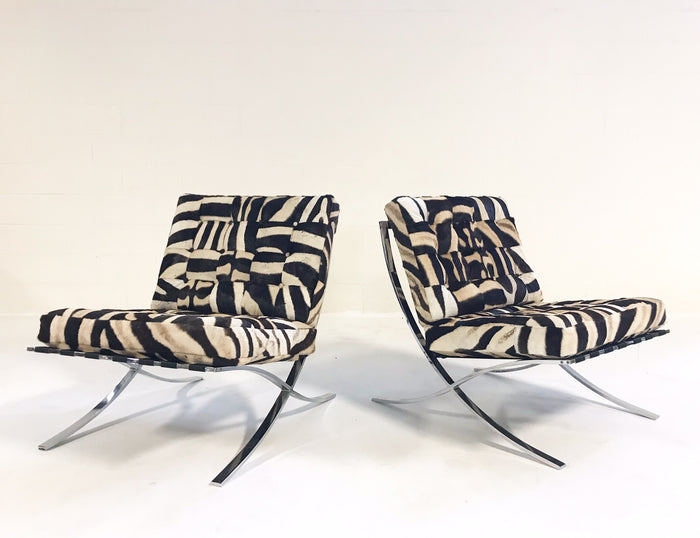 Vintage Barcelona Style Chairs Restored in Patchwork Zebra Hide - Pair - FORSYTH