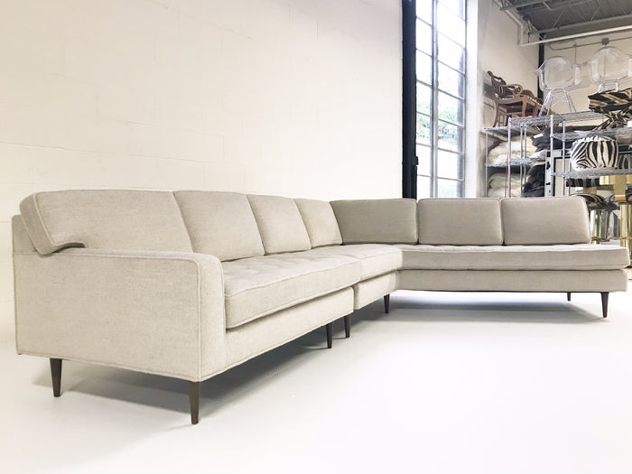 Vintage Mid-Century 2-Piece Sectional Sofa Restored in Grey Loro Piana Alpaca Wool - FORSYTH