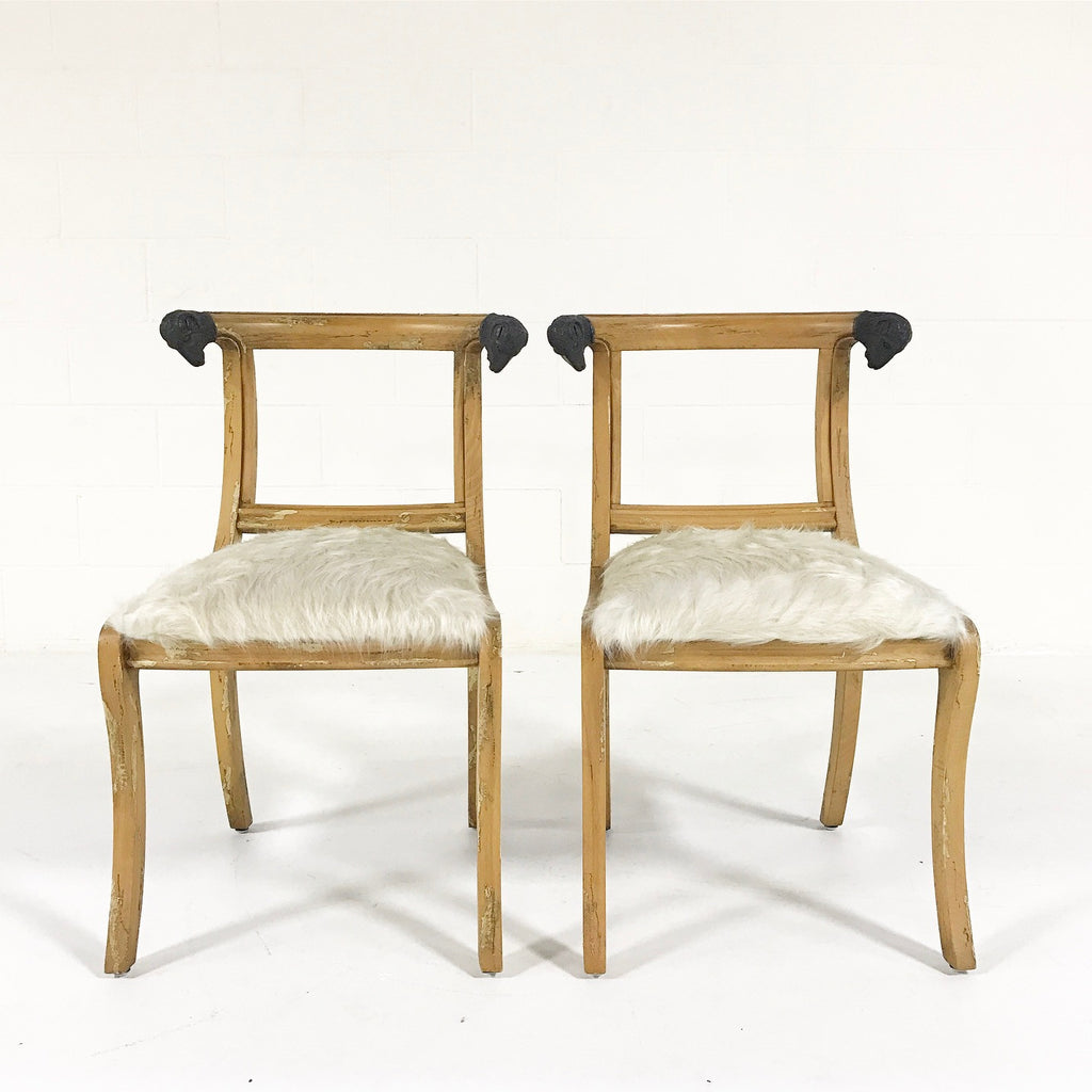 Set of Four French Side Chairs with Ram Heads in Ivory Cowhide - FORSYTH