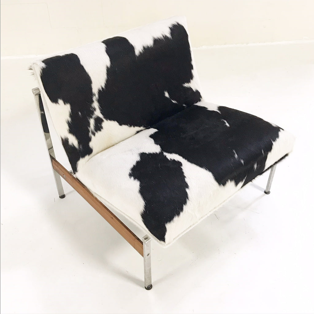 Vintage Glenn of California Lounge Chair Reupholstered in Brazilian Cowhide