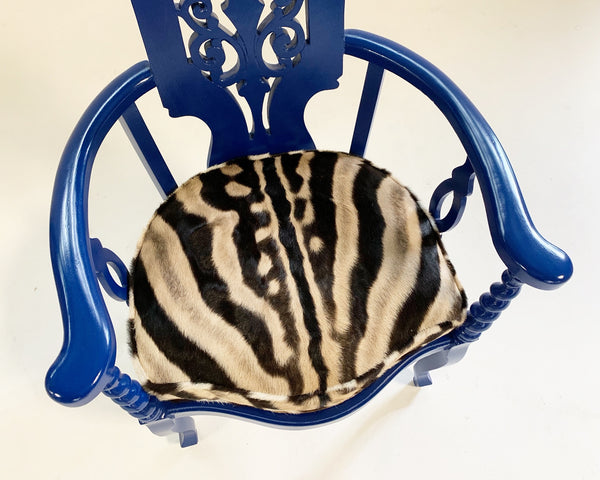 Renaissance Revival Armchair with Zebra Hide Cushion - FORSYTH