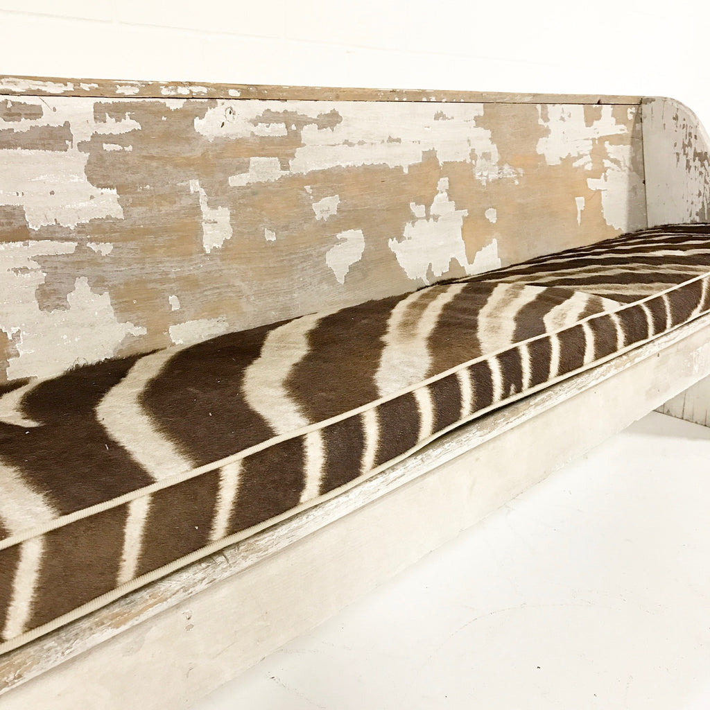 EARLY CHURCH PEW with Zebra Hide Cushion - FORSYTH