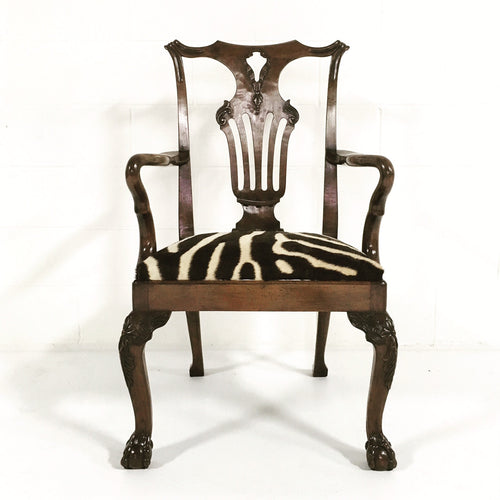 George II Walnut Dining Chairs in Zebra Hide, set of 8 - FORSYTH