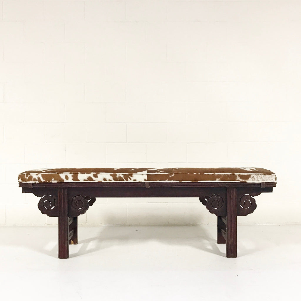 VINTAGE CHINESE BENCH WITH DOUBLE-SIDED CARVING NO.19 - FORSYTH