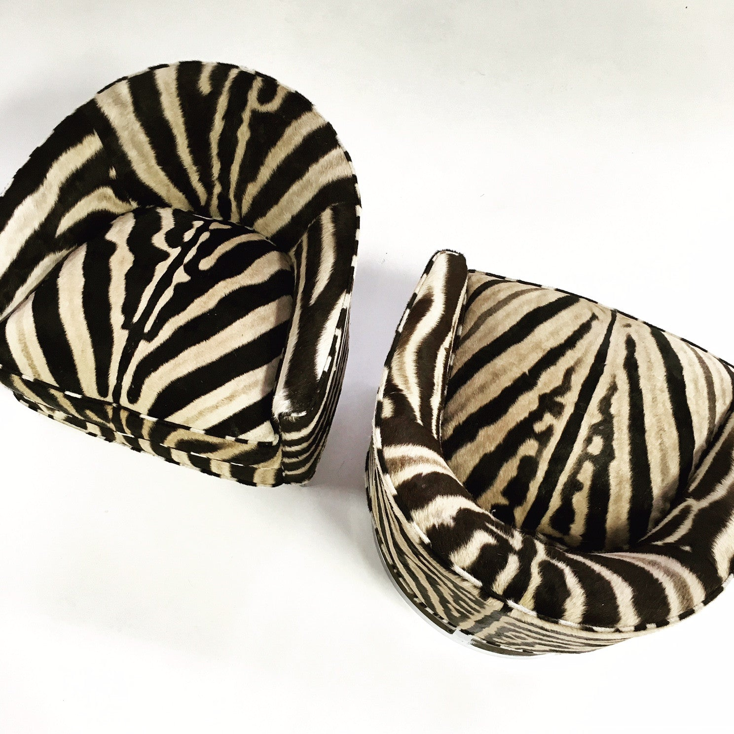 Club Chairs in Zebra Hide, pair - FORSYTH