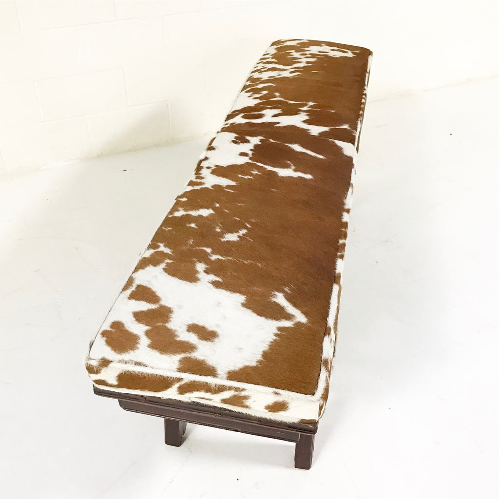 VINTAGE CHINESE BENCH WITH DOUBLE-SIDED CARVING AND BROWN AND WHITE COWHIDE CUSHION NO.19 - FORSYTH