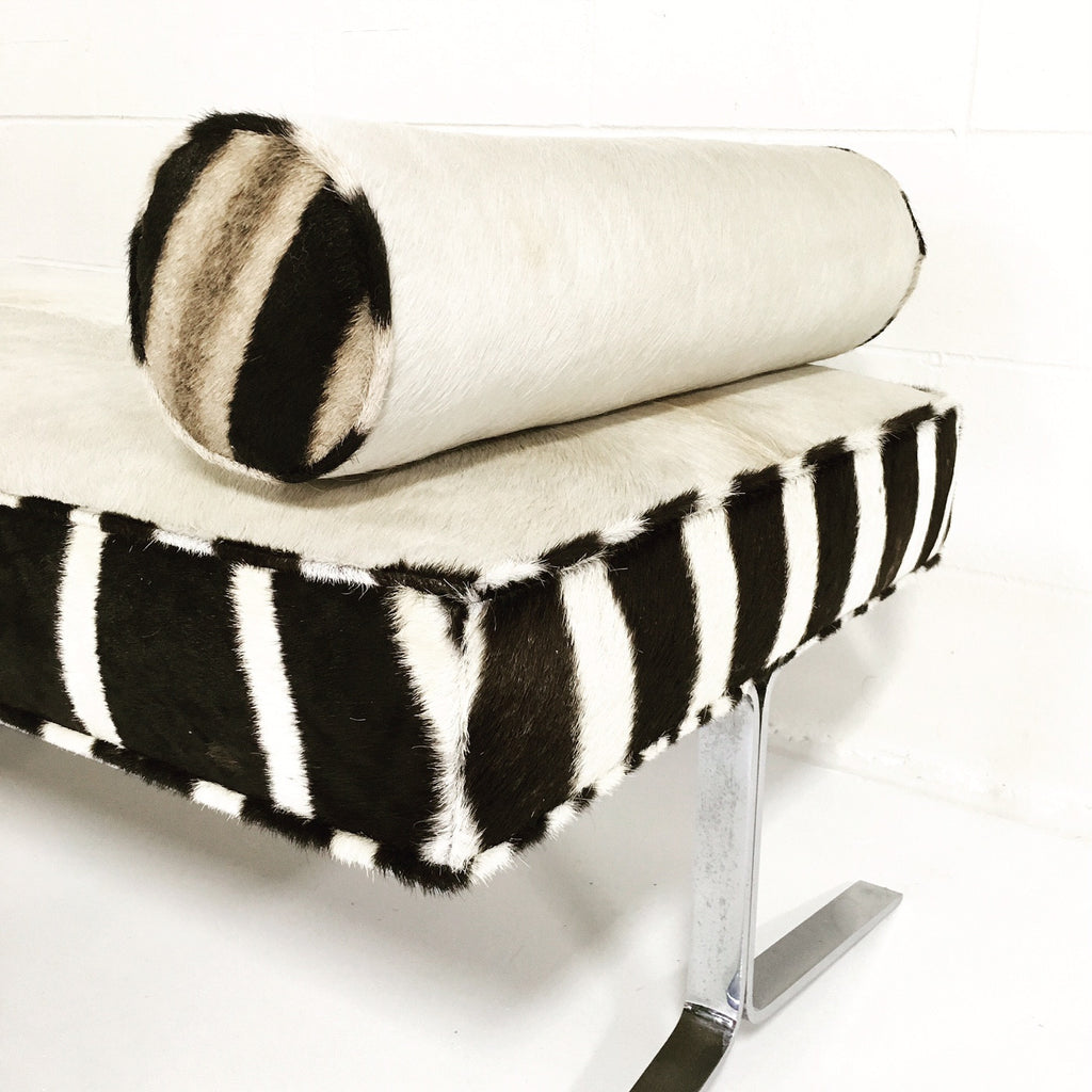 Modern Chrome Bench in Ivory Cowhide and Zebra Hide - FORSYTH