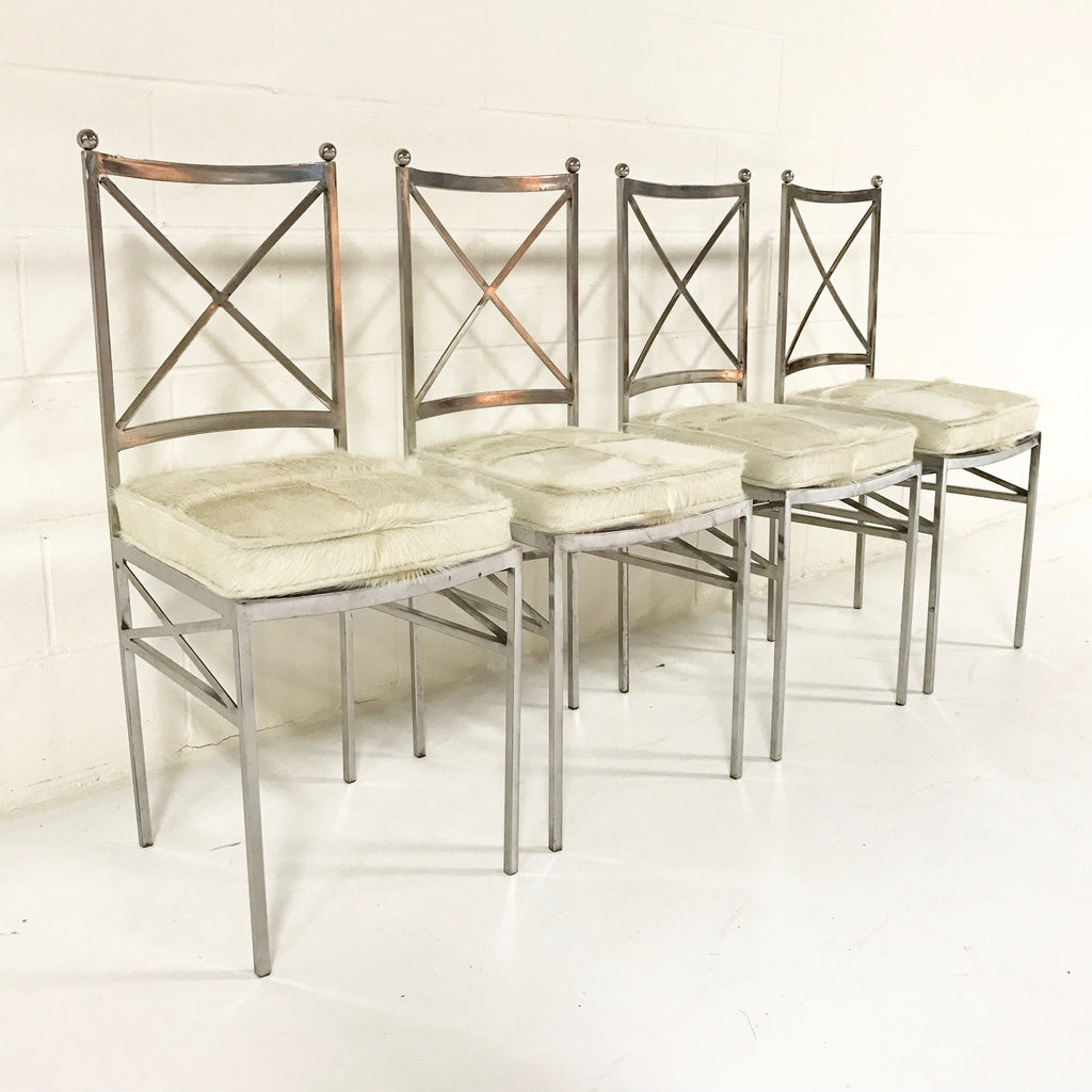 Midcentury Swedish Polished Steel Dining Chairs with Custom Ivory Cowhide Cushions - Set of 10 - FORSYTH