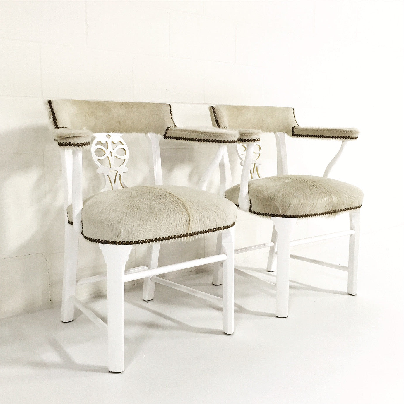 Painted Chairs in Brazilian Cowhide, pair - FORSYTH