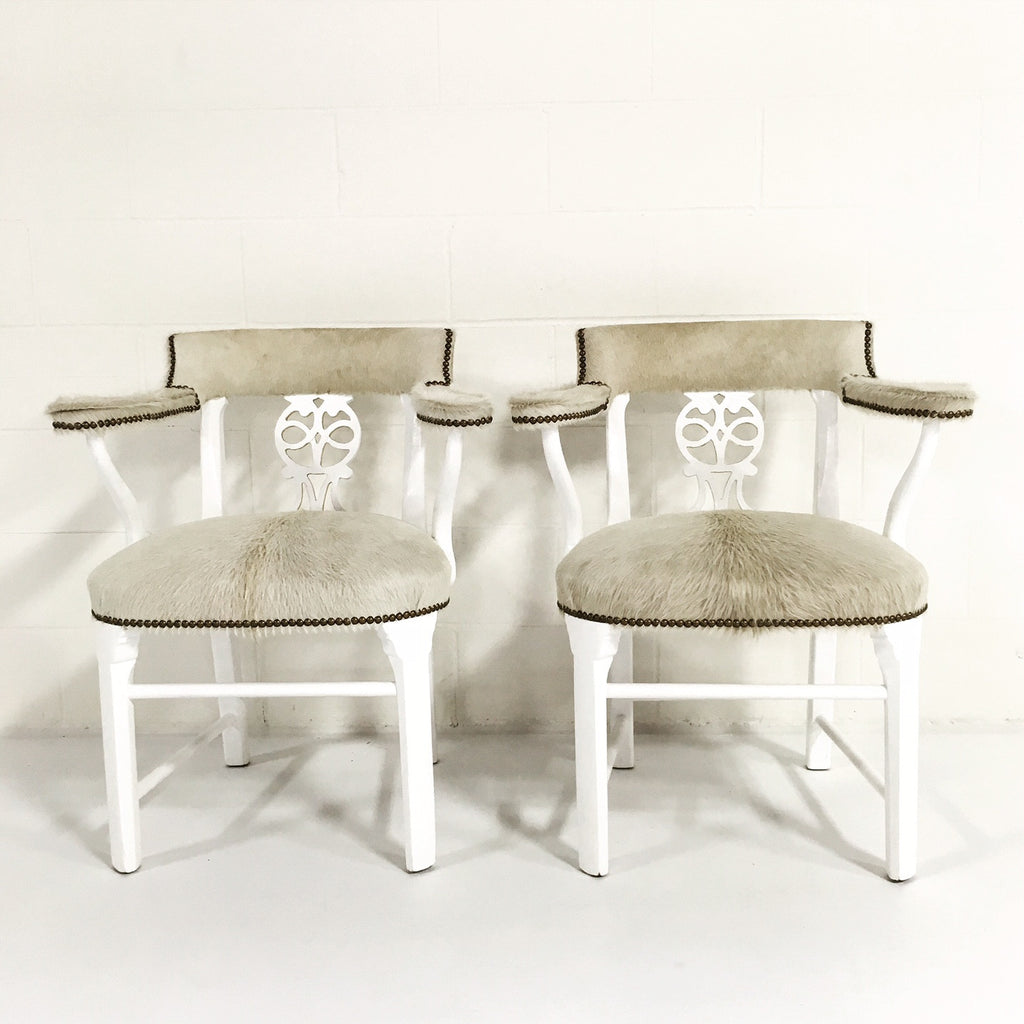 Painted White & Gold Leaf Chairs in Ivory Cowhide - FORSYTH