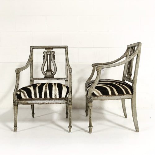 Neoclassical Painted Armchairs in Zebra Hide - FORSYTH