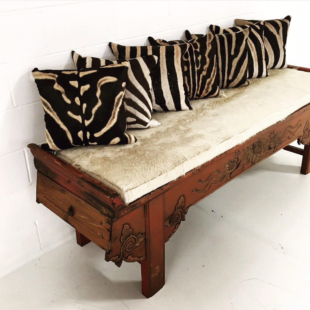 Chinese Bench with Brazilian Cowhide Cushion - FORSYTH