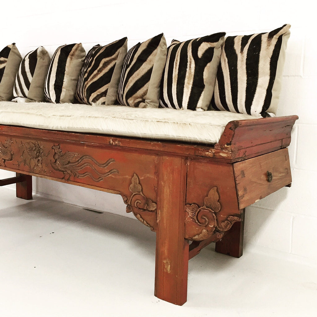 Carved Phoenix Bird Bench with Ivory Cowhide Cushion and Zebra Pillows - No. 11 - FORSYTH
