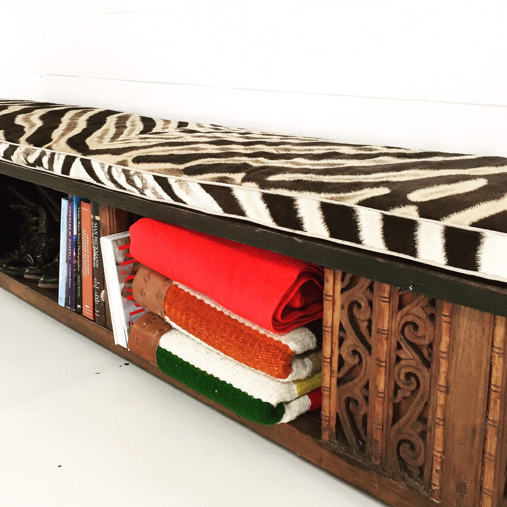 RESTORED CHINESE BENCH WITH ZEBRA HIDE CUSHION NO.2 - FORSYTH