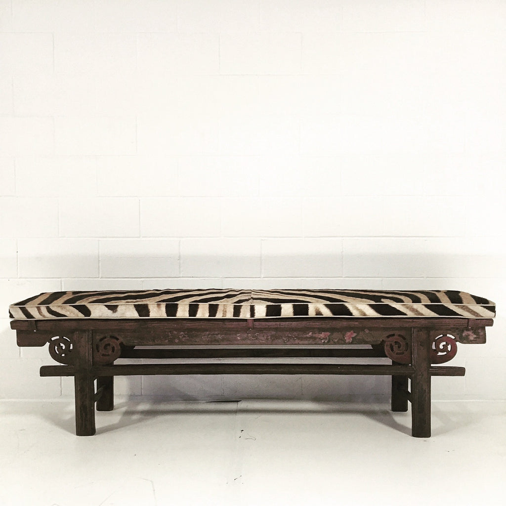 CHINESE PAINTED BENCH WITH ZEBRA HIDE CUSHION No. 2 - FORSYTH