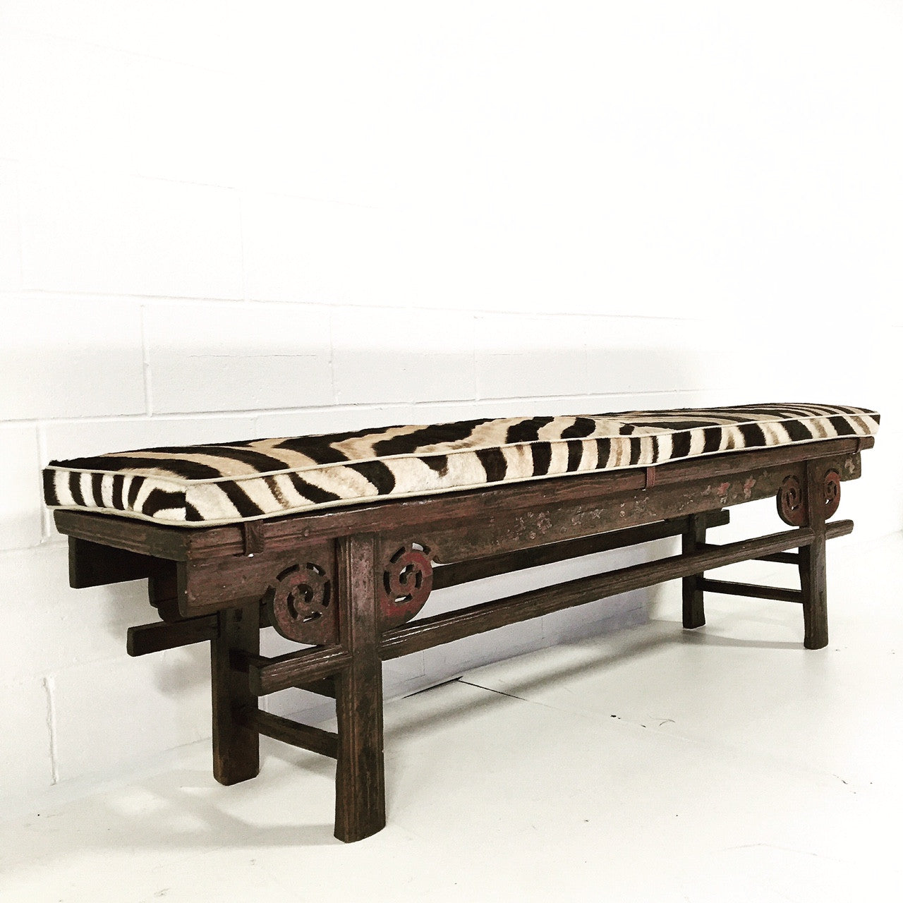 Painted Chinese Bench with Zebra Cushion - FORSYTH