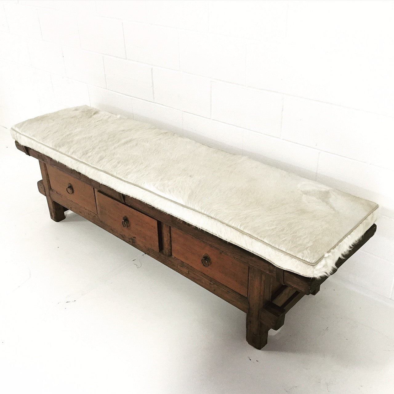 Bench with Brazilian Cowhide Cushion - FORSYTH