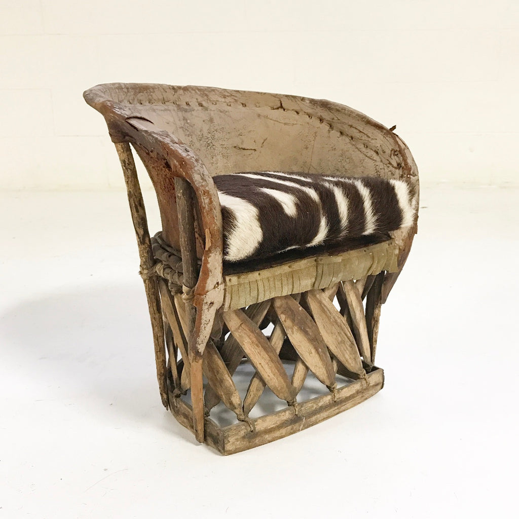 Nice Mini Equipale Chair With Zebra Hide Cushion   FORSYTH