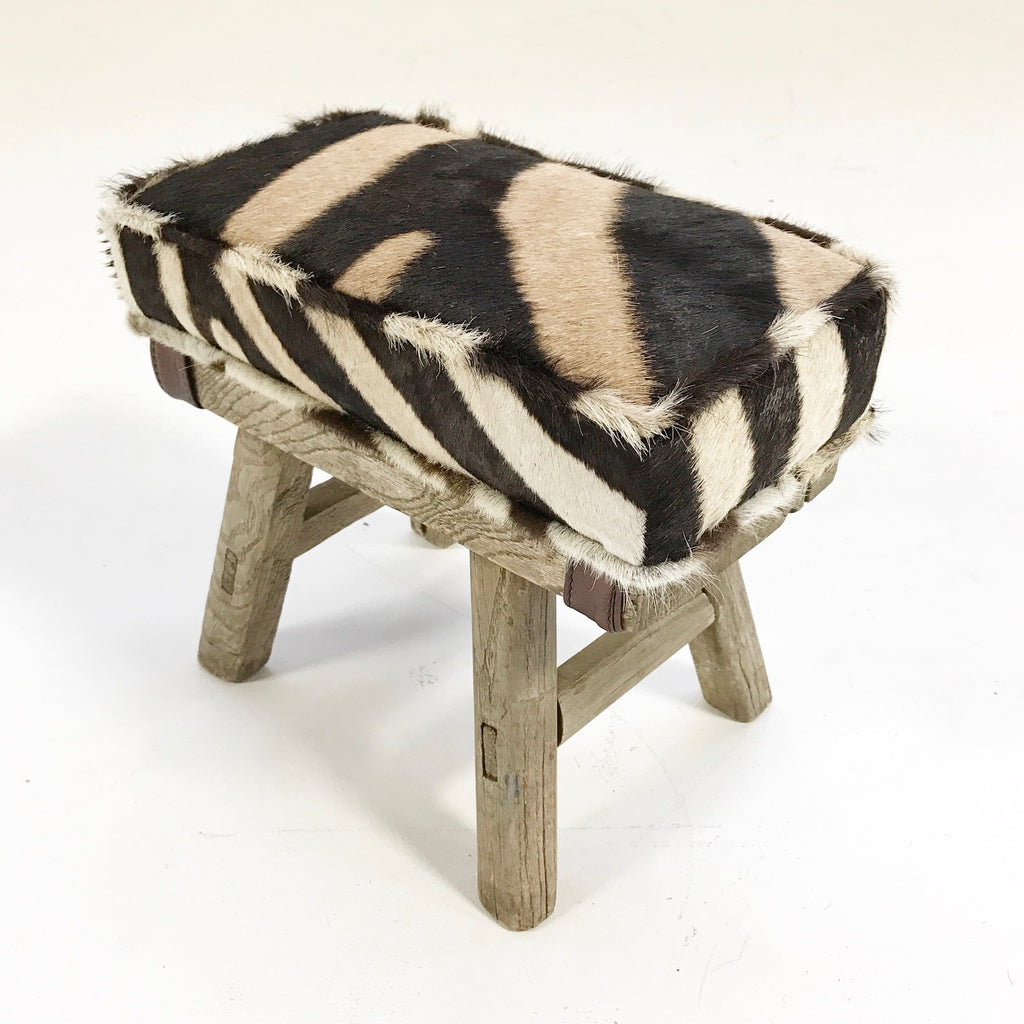 Mini Wooden Bench with Zebra Hide Cushion