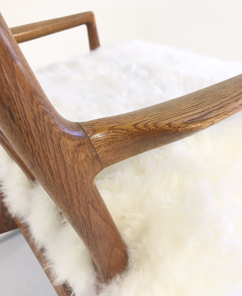 Vintage Hans Wegner for Mikael Laursen ML-33 Rocking Chair Reupholstered in New Zealand Sheepskin - FORSYTH