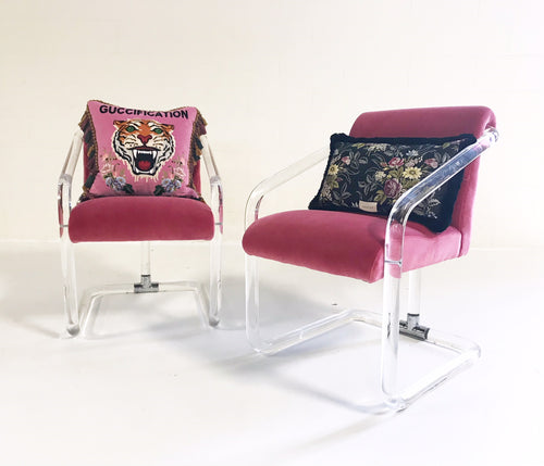 Lucite Armchairs in Loro Piana Velvet with Gucci Pillows, pair - FORSYTH