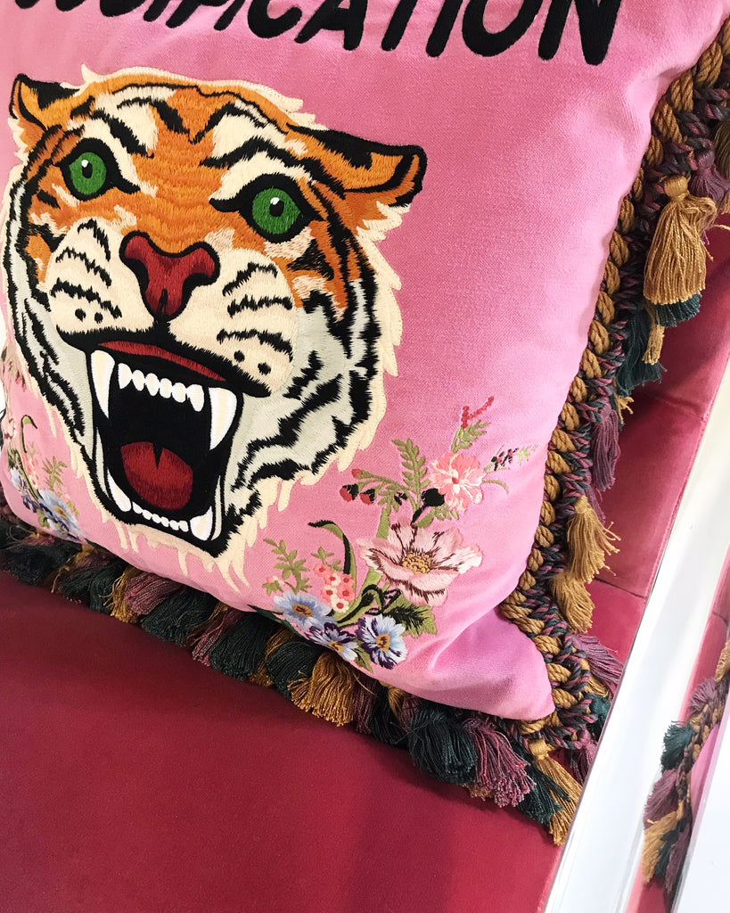 Vintage Lion in Frost Lucite Chairs Restored in Loro Piana Pink Velvet with Gucci Pillows - Pair - FORSYTH