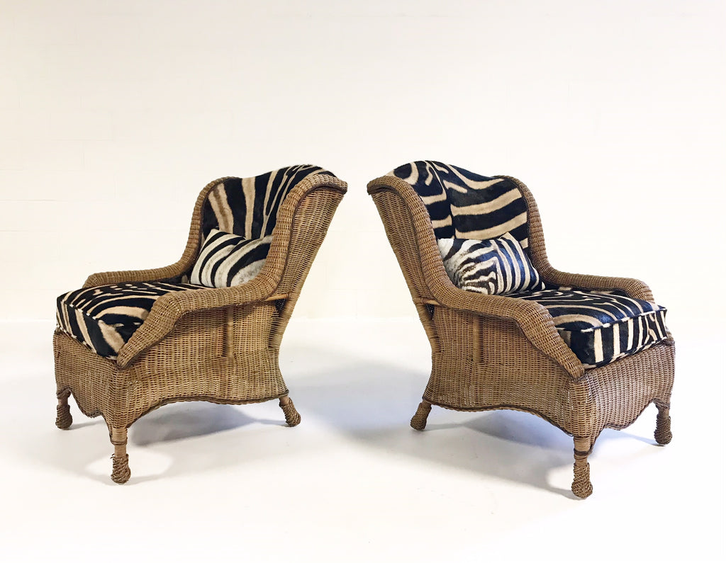 Vintage Ralph Lauren Wicker Wingback Chairs Restored In Zebra Hide   Pair    FORSYTH. Next